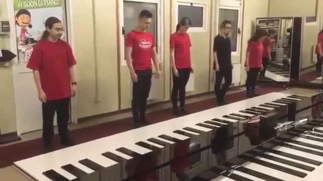 Professional Dance on Giant Floor Piano